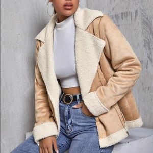 faux fur shearling Vegan suede  lined jacket tan